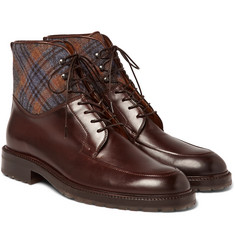 Etro - Checked Felt-Panelled Leather Boots