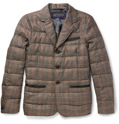 Etro - Slim-Fit Leather-Trimmed Checked Silk and Wool-Blend Down Jacket