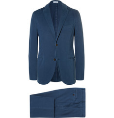 Boglioli Blue Slim-Fit Garment-Dyed Stretch-Cotton Twill Suit