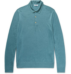 Boglioli Knitted Wool, Silk and Cashmere-Blend Polo Shirt