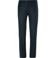 Giorgio Armani Blue Slim-Fit Mélange Alpaca-Blend Trousers