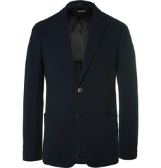 Giorgio Armani Upton Blue Slim-Fit Stretch-Wool Seersucker Blazer