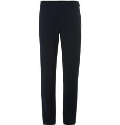 Giorgio Armani Blue Slim-Fit Stretch-Wool Seersucker Trousers
