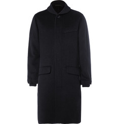 Giorgio Armani Ribbed Knit-Trimmed Brushed Cashmere-Blend Coat