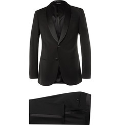 Giorgio Armani Black Slim-Fit Silk-Trimmed Virgin Wool Tuxedo