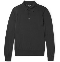 Giorgio Armani Knitted Virgin Wool Polo Shirt