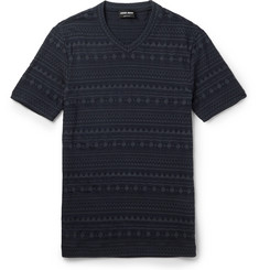 Giorgio Armani Slim-Fit V-Neck Jacquard T-Shirt