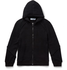 - Knitted Cotton-Blend Zip-Up Hoodie