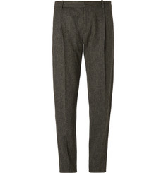Chalayan Tapered Herringbone Wool Trousers