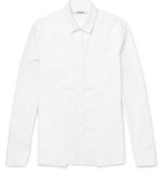 - Slim-Fit Panelled Cotton-Poplin Shirt