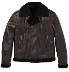 Brioni Shearling-Lined Leather Biker Jacket
