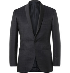 Brioni - Blue Silk and Wool-Blend Houndstooth Jacquard Tuxedo Jacket