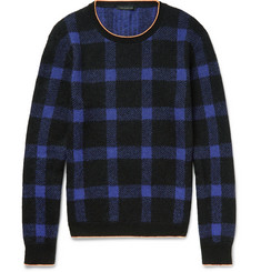 Christopher Kane Slim-Fit Neon-Tipped Checked Knitted Sweater