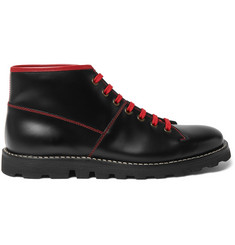 Prada Contrast-Stitched Spazzolato Leather Boots