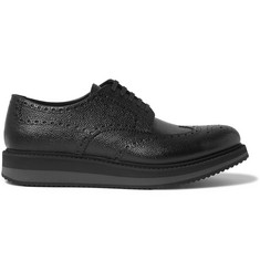 Prada - Pebble-Grain Leather Wingtip Brogues