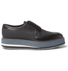 Prada Rubberised-Leather Wingtip Brogues