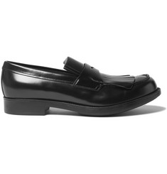 Prada Spazzolato Leather Kiltie Loafers