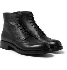 Prada - Pebble-Grain Leather Brogue Boots