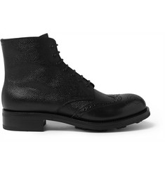 Prada Pebble-Grain Leather Brogue Boots