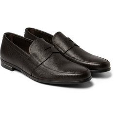 Prada - Cross-Grain Leather Penny Loafers
