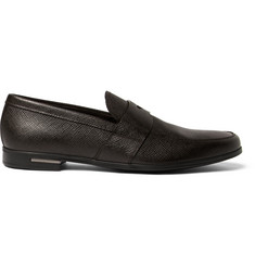 Prada Cross-Grain Leather Penny Loafers
