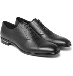 Prada - Cap-Toe Cross-Grain Leather Oxford Shoes