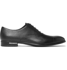 Prada Cap-Toe Cross-Grain Leather Oxford Shoes