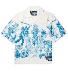 Prada Important Ones Camp-Collar Printed Satin Shirt
