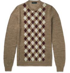 Prada Argyle Alpaca and Wool-Blend Sweater