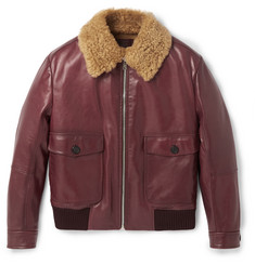 Prada Slim-Fit Shearling-Trimmed Leather Flight Jacket