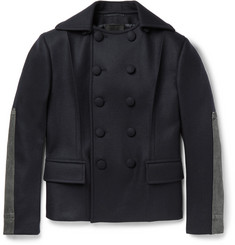 Prada Denim-Trimmed Virgin Wool Peacoat