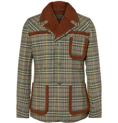 Prada Faux Shearling-Panelled Checked Wool Jacket