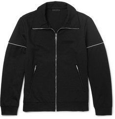 Prada Slim-Fit Contrast-Trimmed Tech-Jersey Zip-Up Sweatshirt