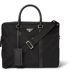 Prada Leather-Trimmed Nylon Briefcase