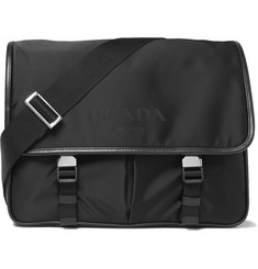 Prada - Leather-Trimmed Shell Messenger Bag