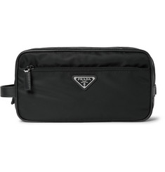Prada Cross-Grain Leather-Trimmed Shell Wash Bag