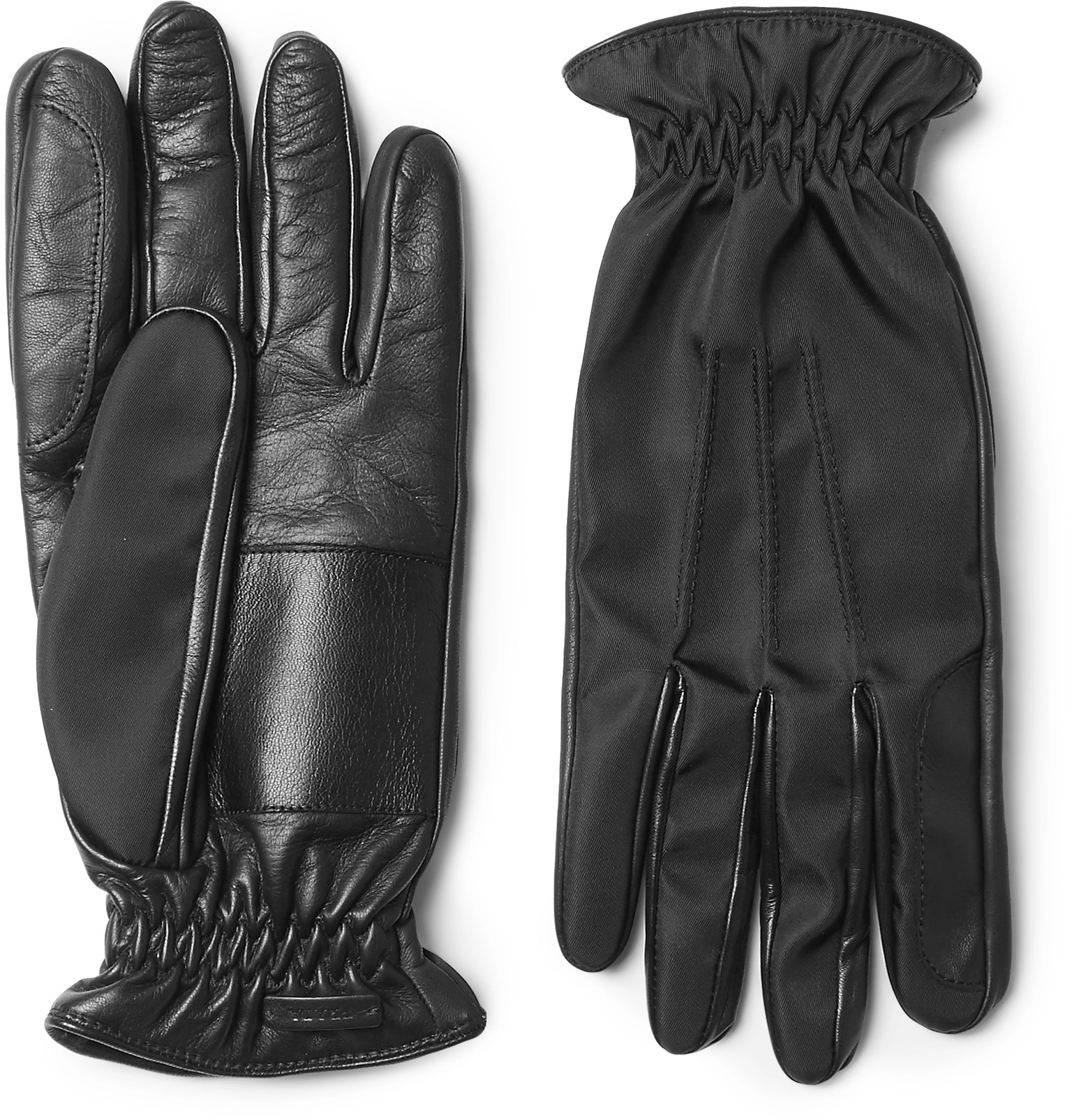 Prada mens leather gloves - Prada Cashmere Lined Leather And Twill Gloves
