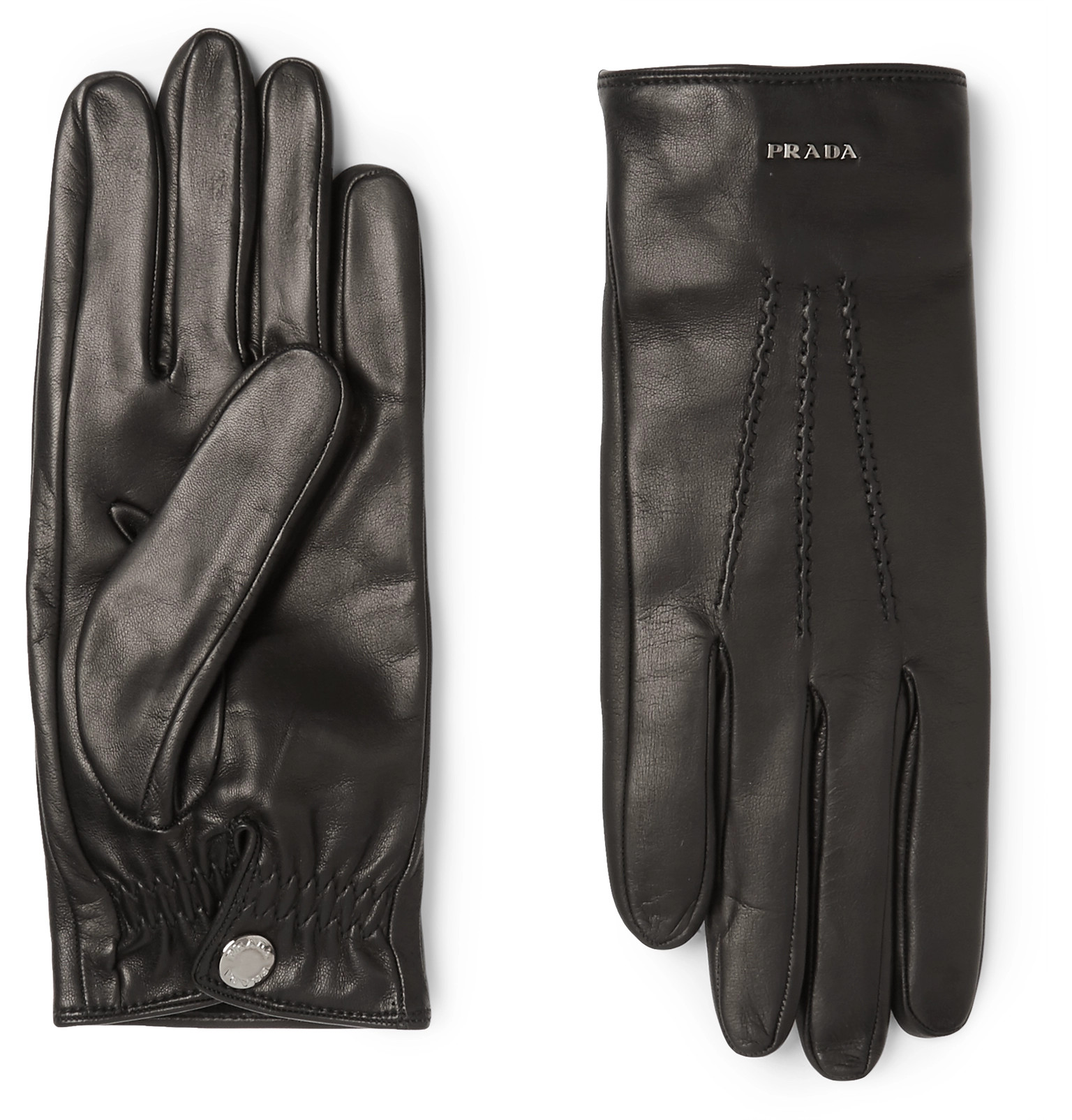 Xxl black leather gloves - Pradacashmere Lined Leather Gloves