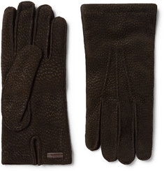 Prada - Cashmere-Lined Textured-Suede Gloves