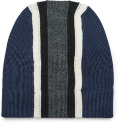 Prada Striped Virgin Wool Beanie