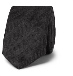 Prada 4cm Herringbone Silk and Cotton-Blend Tie
