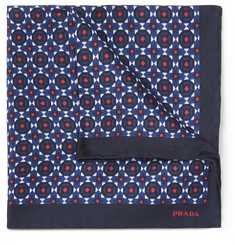Prada - Patterned Silk-Twill Pocket Square