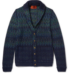 Missoni Shawl-Collar Patterned Wool-Blend Cardigan