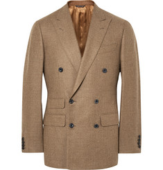 Thom Sweeney Sand Slim-Fit Double-Breasted Wool Blazer