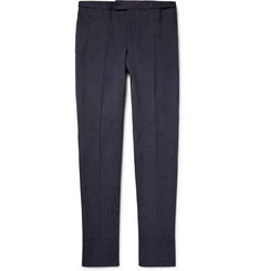 Thom Sweeney Blue Slim-Fit Brushed-Cotton Twill Trousers