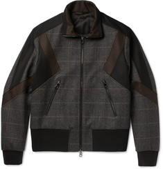 Neil Barrett Panelled Prince of Wales Checked Wool-Blend Bomber Jacket