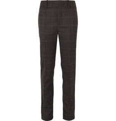 Neil Barrett Slim-Fit Tapered Satin-Striped Checked Wool-Blend Trousers