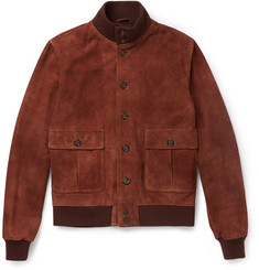 Valstar - Valstarino Slim-Fit Washed-Suede Bomber Jacket