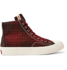 visvim Skagway Suede-Trimmed Checked Wool High-Top Sneakers