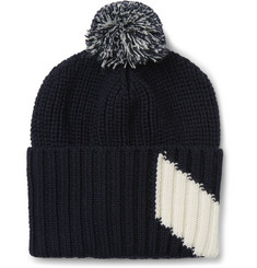 Moncler Gamme Bleu - Chevron Intarsia Virgin Wool Bobble Hat